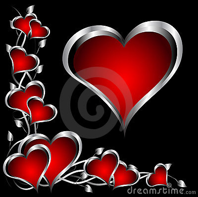 Free A Red And Silver Hearts Valentines Day Background Stock Images - 17216304