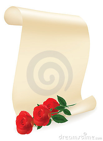 Free A Red Roses With Roll Of Paper. Royalty Free Stock Images - 17517199