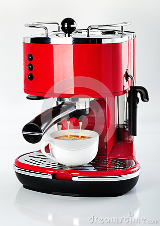 Free A Red Vintage Looking Espresso Coffee Machine Is Making A Coffee Stock Photography - 29871582