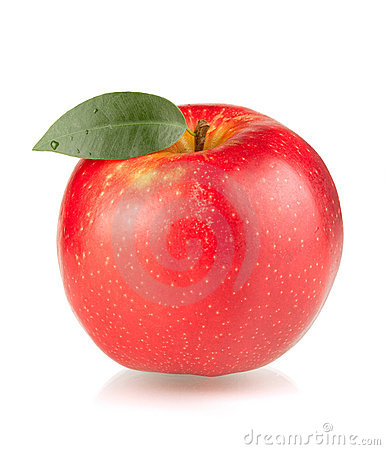 Free A Ripe Red Apple With Green Leaf Royalty Free Stock Image - 15198396
