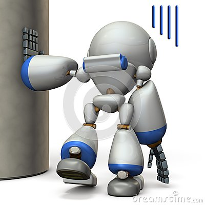 Free A Robot That Is Hanging On A Pillar. He Is Exhausted. Stock Photos - 121761383
