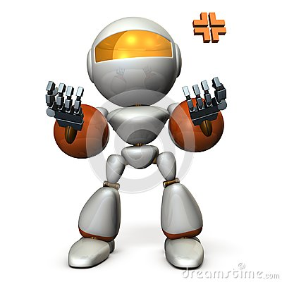 Free A Robot That Pushes Up Both Hands And Recovers. He Is Excited. Royalty Free Stock Photos - 121761398