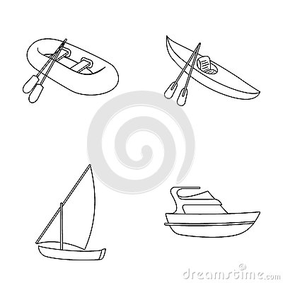 Free A Rubber Fishing Boat, A Kayak With Oars, A Fishing Schooner, A Motor Yacht.Ships And Water Transport Set Collection Royalty Free Stock Photography - 93898077