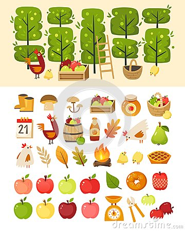 Free A Scene With Apple Garden Trees And Elements In Front Of It. Plus Icons Of Various Apple Theme Items, Foods And Containers. Stock Photos - 123811673