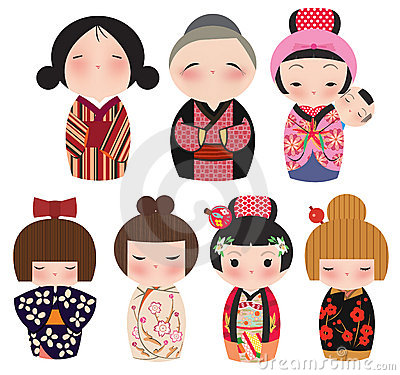 Free A Series Of Cute Japanese Kokeshi Characters. Stock Photos - 15862263