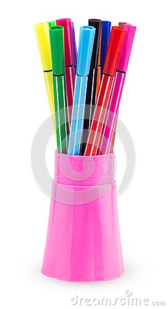 Free A Set Of Colored Felt-tip Pens In A Pink Plastic Cup Royalty Free Stock Photos - 116622738