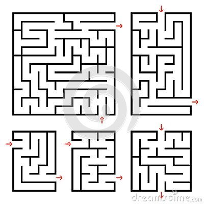 Free A Set Of Square And Rectangular Labyrinths With Entrance And Exit. Simple Flat Vector Illustration Isolated On White Background. Royalty Free Stock Images - 118585579