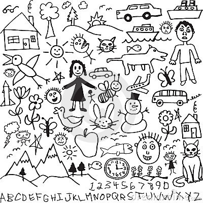 Free A Set Of Unique Hand Drawn, Child Like Drawings In Royalty Free Stock Image - 14648726