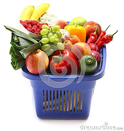 Free A Shopping Basket Full Of Fresh Produce Stock Image - 13123821