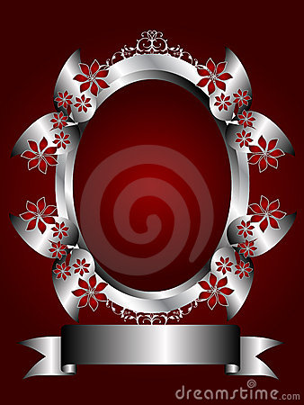 Free A Silver Floral Background On A Deep Red Backgroun Stock Images - 8978884