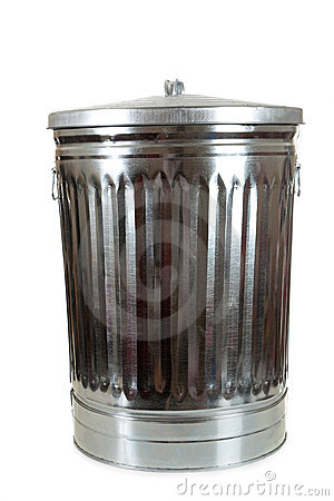 Free A Silver Trash Can On White Stock Photography - 10640932