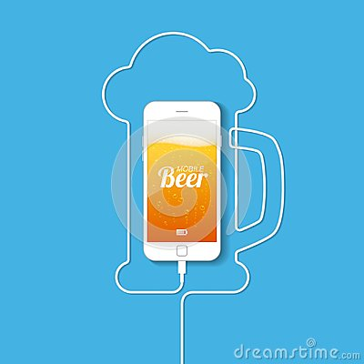 Free A Smartphone With A Wire Forming A Silhouette Of A Mug Of Beer. Royalty Free Stock Photography - 122051307