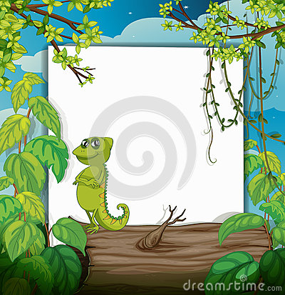 Free A Smiling Chameleons And A White Board Royalty Free Stock Photos - 33097168