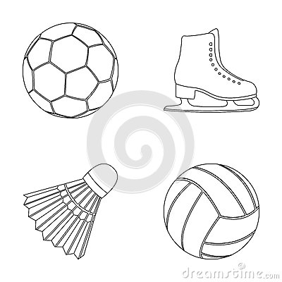 Free A Soccer Ball, Figure Skating Skates, A Shuttlecock For A Badminton, A Ball For Volleyball. Sport Set Collection Icons Royalty Free Stock Images - 92868629