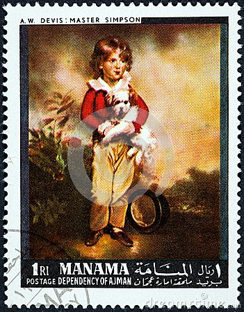 Free A Stamp Printed In Manama Shows Painting Master Simpson By Arthur William Devis Royalty Free Stock Photo - 118870915