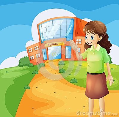 Free A Teacher In Front Of The School Building Stock Photo - 33141320
