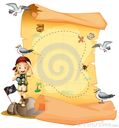 Free A Treasure Map And A Young Girl Holding A Telescope Royalty Free Stock Images - 34713789