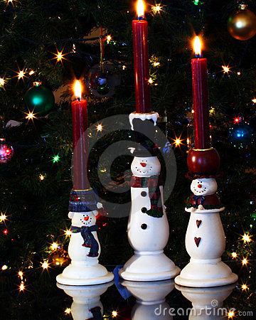 Free A Trio Of Snowman Candles Royalty Free Stock Photos - 7556618