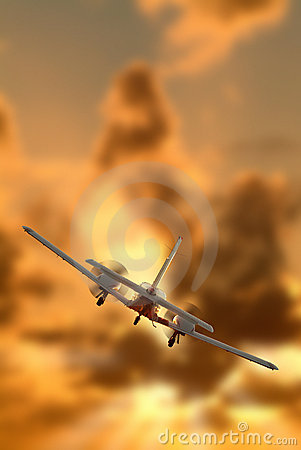 Free A Twin Engine Airplane Flying Royalty Free Stock Photography - 5566487