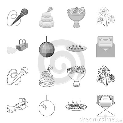 Free A Video Camera With Smoke, A Twirling Holiday Ball, A Plate Of Sandwiches, An Envelope With A Greeting Card. Event Stock Photography - 116405012
