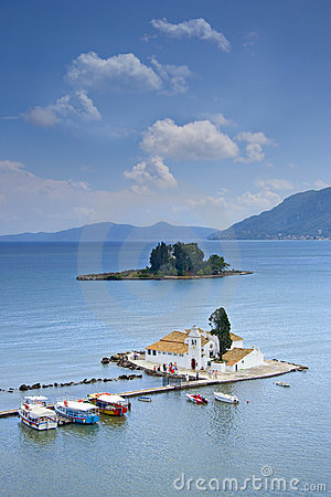 Free A View Of A Church And Mouse Island On Corfu Royalty Free Stock Image - 1285336