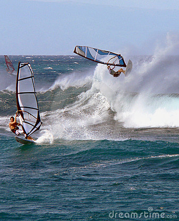Free A Windsurfer In Big Waves Royalty Free Stock Photos - 154758