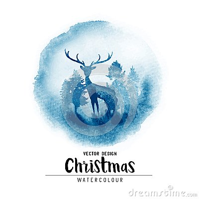Free A Winter Christmas Watercolor Scene Royalty Free Stock Image - 102486016