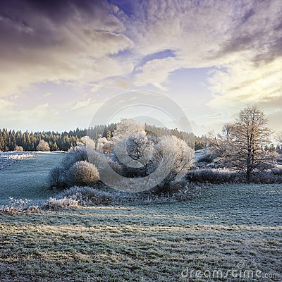 Free A Winter Morning With A Beautiful Sunrise Stock Photos - 27798913
