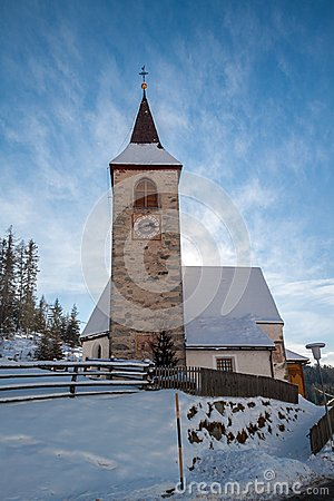 Free A Wintertime View Of A Small Church With A Tall Steeple Royalty Free Stock Photography - 28829307