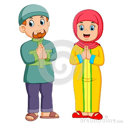 Free A Woman And A Men Are Giving The Greeting Forgiveness Of Ied Mubarak Royalty Free Stock Images - 144708059