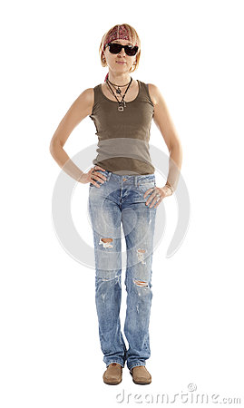Free A Woman In Torn Jeans Royalty Free Stock Photos - 31284298