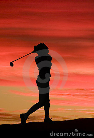 Free A Woman Plays Golf Against A Brilliant Sunset Stock Images - 1828774