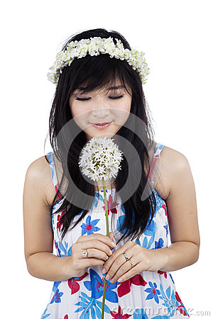 Free A Woman Smelling Flower Stock Images - 37081864