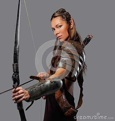 Free A Woman With Bow. Royalty Free Stock Images - 112964919