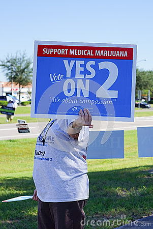 Free A Women Is Holding A Blue Election Vote Sign To Support Medical Marijuana Royalty Free Stock Image - 46116146
