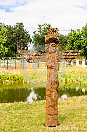 Free A Wooden Sculpture On The Territory Of The Church Of Of The Holy Trinity. Liskiava Royalty Free Stock Photo - 64132395