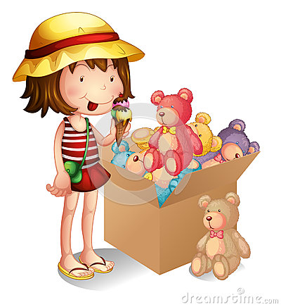 Free A Young Girl Beside A Box Of Toys Royalty Free Stock Photo - 32733685