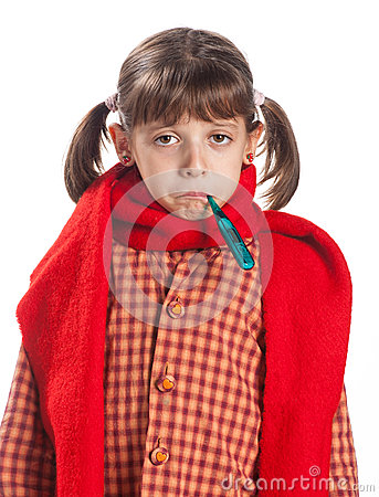 Free A Young Girl With A Thermometer Stock Photos - 27140903