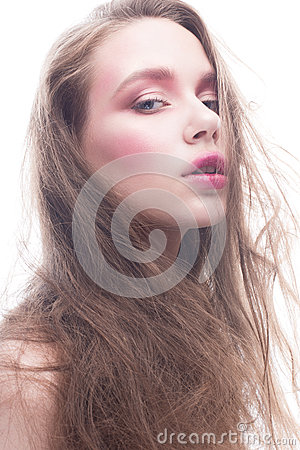 Free A Young Girl With Loose Long Hair And Bright Creative Makeup. Beautiful Model With Red Lips And Blush On A White Isolated Backgrou Stock Images - 94442654
