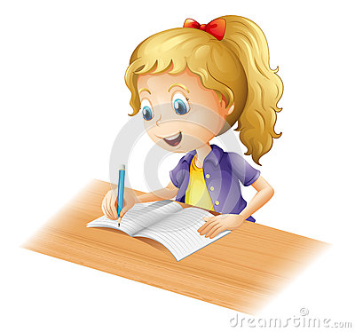 Free A Young Girl Writing Stock Image - 29373461