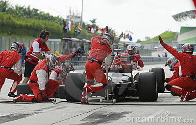 A1 Team Indonesia changing tyres at pitstop. Editorial Photography