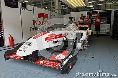 A1 Team Indonesia pit crews take a break Editorial Photo