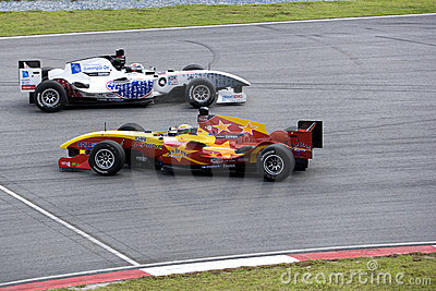 A1GP Race Car Spin and Evasive Action Editorial Stock Image