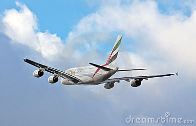 A380 Airbus in flight Editorial Stock Image