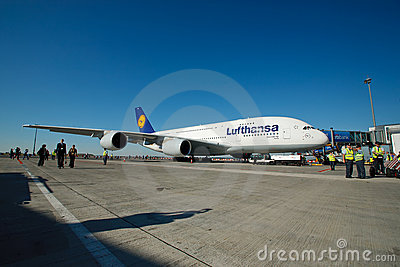 A380 first time in Prague Editorial Stock Image