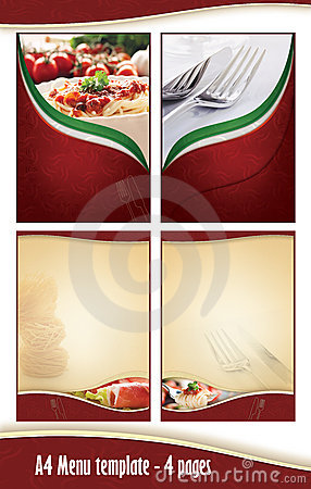 A4 4 pages Menu template - Italian restaurant