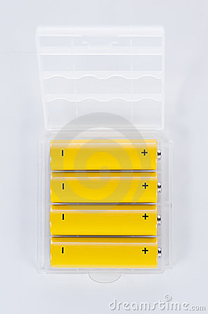 AA Batteries in plastic tray