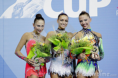 AA rhythmic gymnasts winners WC Pesaro 2010 Editorial Stock Photo