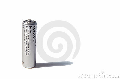 AA-size battery over white