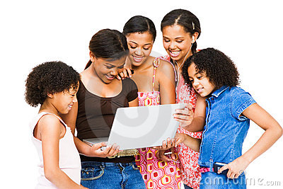 Aafrican American friends using a laptop